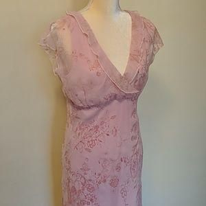 CDC vintage romantic pink floral dress